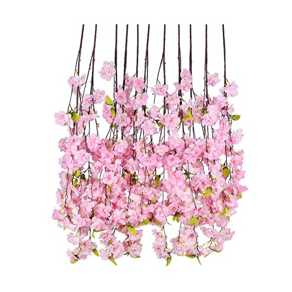 DearHouse 6 Pack Cherry Blossom Artificial Flowers Garland Hanging Vine Silk Garland Wedding Party Home Decor