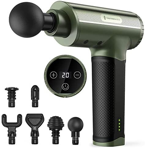 Massage Gun TaoTronics Portable Deep Tissue Percussion Massager with 6 Heads and 20 Adjustable product image