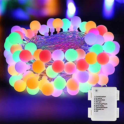 DooVee Guirnalda de Luces LED - 80 Luces LED de batería con 8 Modos - Resistente al Agua con batería LED Cadena de Luces para Navidad, Dormitorio, hogar, Fiesta, Boda, Interior/Exterior Decoraciones