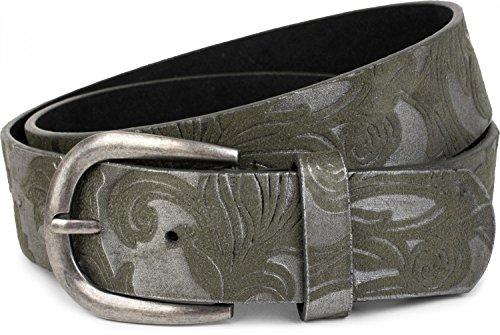 styleBREAKER Gürtel mit weichem, geprägtem Ornament Muster, kürzbar, Unisex 03010076, Farbe:Grün, Größe:100cm