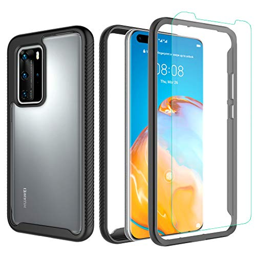 Valchinova for Huawei P40 Pro Case 2 in 1 Hybrid Rugged Armor Cover Soft TPU Transparent PC Bumper 360° Full Body Protect Non-Slip Shockproof + Tempered Glass Screen Protector (Black)