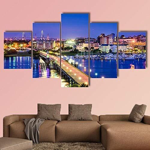 ARIE 5 Pannelli Quadro Moderno Soggiorno Decora Carolina del Sud Murale Art Pittura con Cornice Fotografia per Home Decor Regalo di Anniversarioe Home