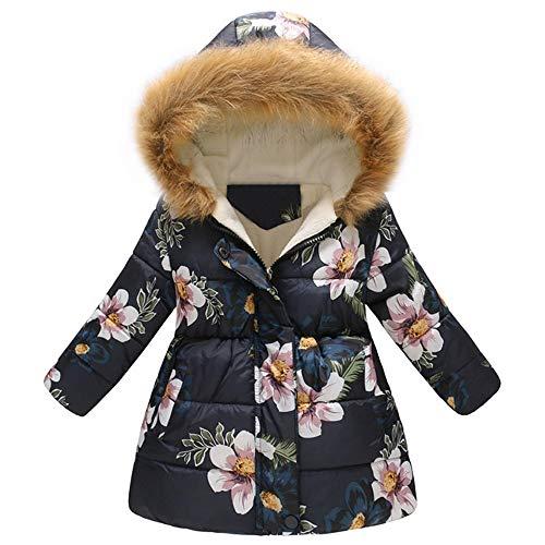KEERADS Manteau Enfant Fille,A Capuche Col Fourrure Long Coat Mignon Mode A Fleurs Imprimé Hiver Chaud éPais pour Les Filles Garcons Blouson 3-7 Ans Manteau Fille