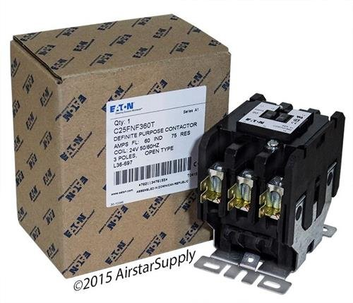Replacement for Allen Bradley 400-DP60NJ3 - Replaced by Eaton/Cutler Hammer C25FNF360T 50mm DP Contactor, 3-Pole, 60 Amp, 24 VAC Coil Voltage