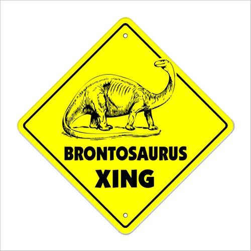 "Brontosaurus Crossing Sign Zone Xing   Indoor/Outdoor   12"" Tall Plastic Sign dinosaur prehistoric trex burger"
