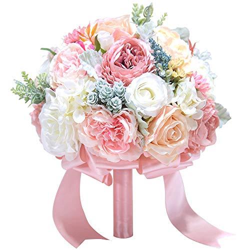 Ju-sheng Falsas Flores Flores Artificiales Plantas Seda Plástica Rosa Arreglos Florales Ramos de Boda Decoraciones (Champán Rosa) joyería (Color : Rosado)