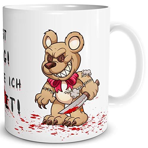 TRIOSK Tasse Horror Teddy Bär Messer mit Spruch Du bist lustig Dich töte ich zuletzt Geschenk Spaßtasse für Arbeit Büro Männer Frauen Kollegen