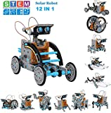 STEM 12-in-1 Education Solar Robot Kits Toys - DIY Building Science Experiment Kit for Kids Solar Powered by The Sun Robotics Kits for Kids Aged Boys and Girls 6 7 8 9 10 11 12 and Older Gifts