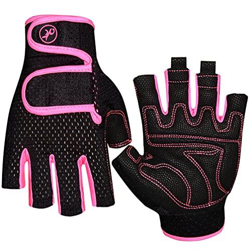 Guantes de levantamiento de pesas, guantes de gimnasio antideslizantes para entrenamiento, fitness, absorción de golpes, guantes de entrenamiento transpirables para mujeres, hombres(rosa, L)
