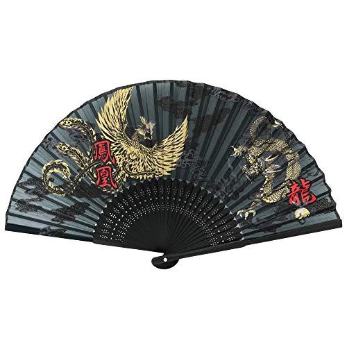 """Terra Distribution Folding Fan [Japan Import] Hand Fans for Women Foldable, Japanese Fan, Unique Design, Handmade Bamboo, Silk Fan, 8.6"""" (22cm), Abanicos de Mano (740 (Phoenix, Dragon))"""