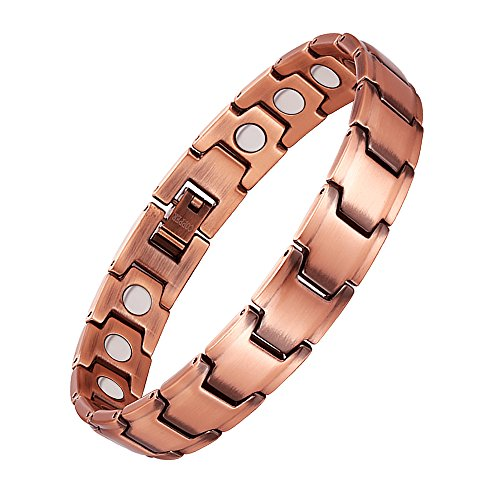 Jeracol Copper Bracelets for Arthritis Men with Strong Magnets Copper Magnetic Bracelet for Pain Relief Magnetic Therapy Bracelet Adjustable, 3500 Gauss, with Remove Tool & Gift Box