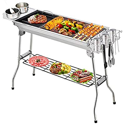 Barbecue Grill, Portable Barbecue Charcoal Grill Foldable Charcoal BBQ Grill Set Stainless Steel, Smoker Grill for Outdoor Cooking Camping Picnic Outdoor Garden Charcoal BBQ Grill Party