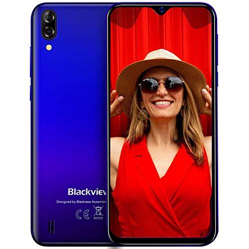 Blackview A60 Smartphone ohne Vertrag Günstig 15,49 cm (6,1 Zoll) HD+ Bildschirm 4080mAh Akku, 13MP+5MP Dual Kamera, 16GB ROM, 128 GB erweiterbar Dual SIM Android Einsteiger Handy - Mist Blau