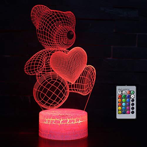 Teddy Bear Gift for Girl, 3D Night Light for Kids, 16 Colours Changing Acrylic LED Night Light, Teddy Bear Birthday Gift