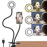 DIWUJI LED Selfie Ringlicht mit Handyhalter, 2 in 1 Webcam Licht Ringleuchte Halterung für Live Stream Make up, 3 Leuchtmodi & 10 Helligkeitsstufen Faule Lange Arme Handy Clip Halter