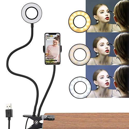 Selfie LED Light con Soporte, Selfie Anillo de Luz con Teléfono Celular Flexible Larga Brazos, 3 Modo & 10 Level Brillo Regulación, 2 en 1 Luz para Transmisión en Vivo , Maquillaje, Toma de Fotos
