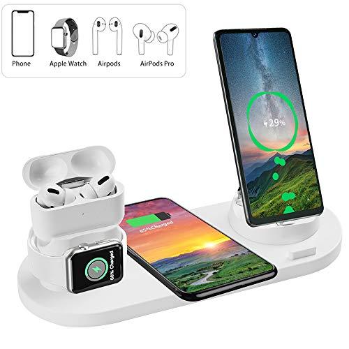 Auzev - Stazione di ricarica wireless multifunzione 6 in 1 per Apple, Watch, Airpods e Smartphone, ricarica rapida Qi per iPhone XR/XS/X/8 Plus/8, Samsung, Huawei, Xiaomi, ecc.