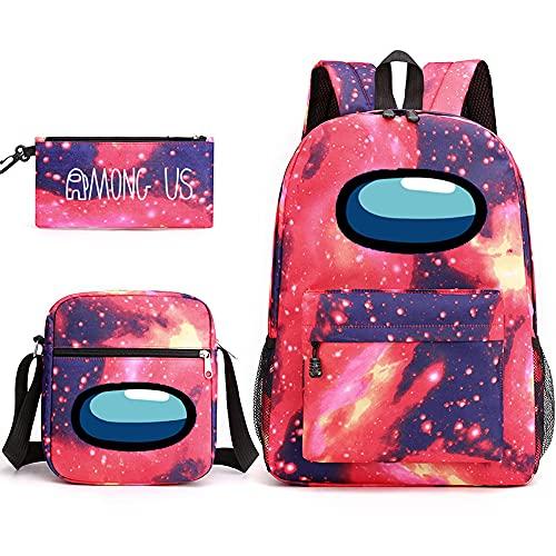 KATKAL Mochila Among Us, mochila para niños y niñas, mochila de viaje, estuche para lápices, bolsa de hombro (estrella)