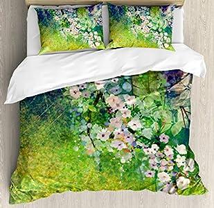 ABAKUHAUS Japonés Funda Nórdica, Pintura De Tierra De La Hierba, 2 Fundas para Almohada Set Decorativo de 3 Piezas, 264 X 220 cm, Rosa Verde