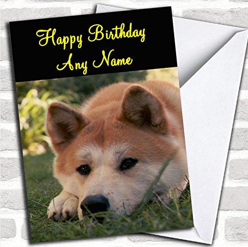 Leuke Japanse Akita Hond Verjaardagskaart Met Envelop, Kan Volledig Gepersonaliseerd, Verzonden Snel & Gratis