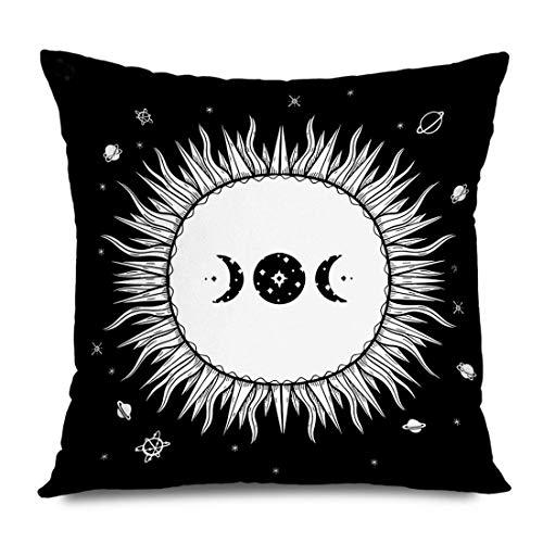 Mengghy Funda de almohada de 45 x 45 cm, diseño de sol, rústico, dibujado por sol, esotérico, luna, fantasía, etiqueta mágica, decoración del hogar, funda de cojín con cremallera