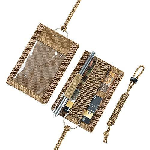 EXCELLENT ELITE SPANKER Tactical ID Card Holder Adjustable Neck Lanyard Key Ring Loop Patch Badge Holder and Credit Card Organizer (Coyote Brown)