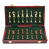 LMDH Ajedrez de Metal Brillante de ajedrez Tablero de ajedrez Plegable de Madera sólida del Alto Grado Profesionales Juegos de ajedrez Conjunto Creativo Tradicionales Juegos de ajedrez