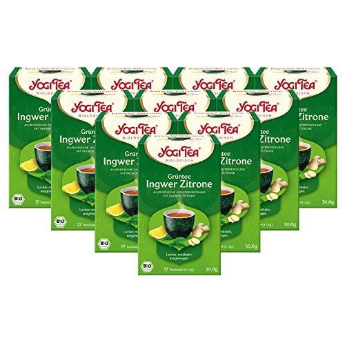 YOGI TEA® 10x Grüntee Ingwer Zitrone Bio Yogi Tee I leckere ayurvedische Gewürztee-Mischung auf Grüntee-Basis - mit Ingwer Zitrone uvm. I 170 Tee-Beutel - Bio-Qualität I Grüner Tee 10 Päckchen