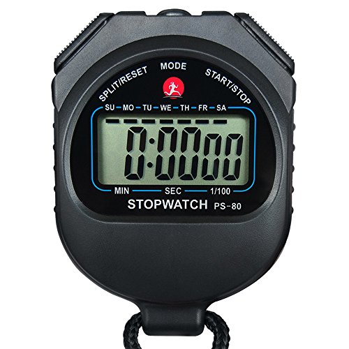 LAOPAO Stopwatch,1/100 Second 10 Memories, Clock Daily Rainproof Digital Timer for Sports Match,Competition,Coach,Referee,Training,Timing