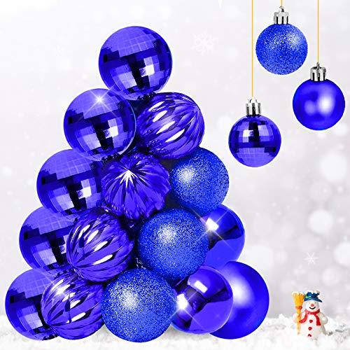 Qhui Bolas de Navidad azules de plástico con cuerda para colgar, 34 unidades, para interior y exterior, decoración de festivales (40 mm)