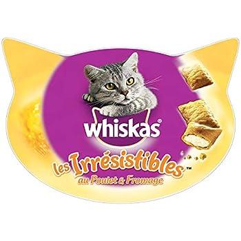 Whiskas Les Irrésistibles - Friandises  au poulet et au fromage pour chat adulte, croquantes à l'extérieur et tendres à l'intérieur, 8 boîtes de 60 g de récompenses