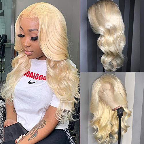Mydiva 613 Blonde Middle Part Human Hair Lace Front Wigs Blonde 13x1 Lace Front Wig Pre Plucked With Baby Hair Honey Blonde Brazilian Body Wave Human Hair Wigs for Black Women (22 inches, 13x1 Body)