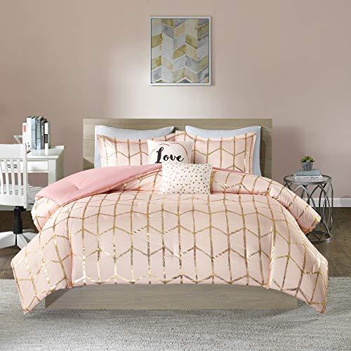 Intelligent Design Raina Comforter Set Metallic Print Geometric Design, Modern Trendy All Season Bedding Set, Matching Sham, Decorative Pillow, Blush/Gold, Full/Queen, 5 Piece