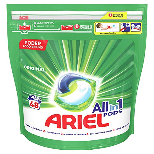 Ariel Todo En Uno Pods Original Detergente En Cápsulas 48 Pods, 48 Lavados, Óptimo Para Lavar A Baja Temperatura, Perfume Duradero