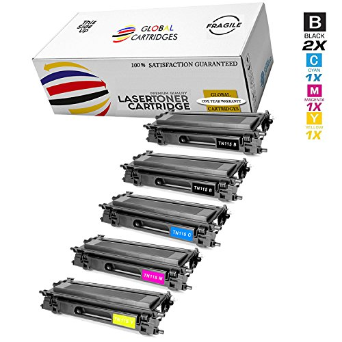 Global Cartridges Compatible Toner Cartridge Replacement Set for Brother TN115 / TN-115 ( 2 X Black , 1 X Cyan ,1 X Yellow , 1 X Magenta )