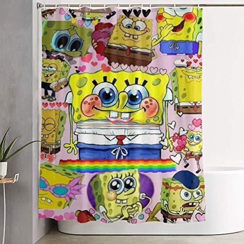 SA&Noely Duschvorhang Spongebob Patterns Shower Curtain Decor for Men Women Boys Girls 60x72 in