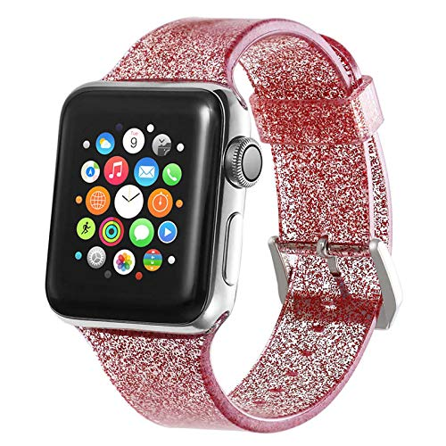 DYH&PW Jelly Correa compatible con Apple Watch Band 40 mm 44 mm compatible con iWatch 38 mm 42 mm pulsera de silicona brillante compatible con Apple Watch Series, rojo, 38,40 mm