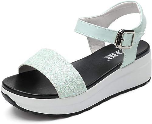 ZCW Chaussures polyvalentes Occasionnelles , , Le Mot coréen pour Les Sandales en été, avec des Chaussures à Semelles épaisses pour Femmes, des Chaussures Plates décontractées à Semelles compensées  le prix le plus bas