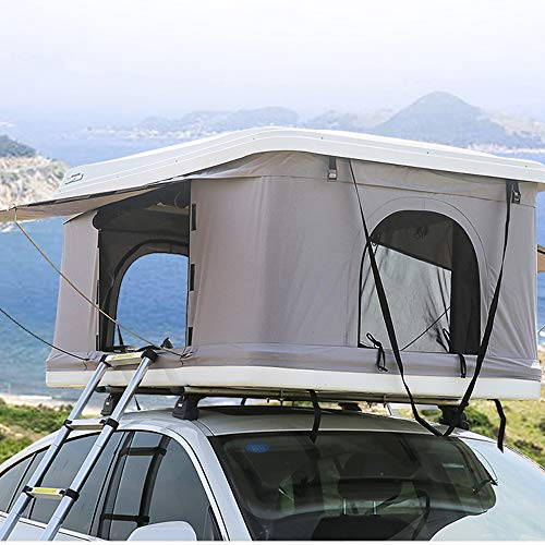 Car Rooftop Tent Hardshell Pop Up Tent for Cars Trucks SUVs Camping Outdoors Sleeps 2/3 Persons (White Green)