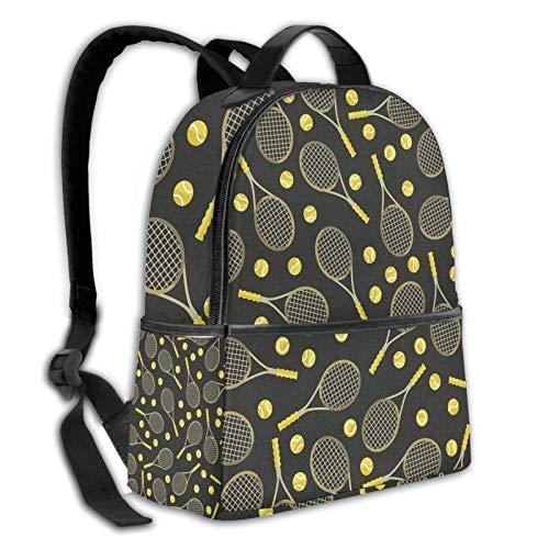 Teery-YY Divertidas y coloridas raquetas de tenis y pelotas de ocio, mochila de hombro, mochila de viaje, mochila universitaria, para hombres, mujeres, niños, adolescentes