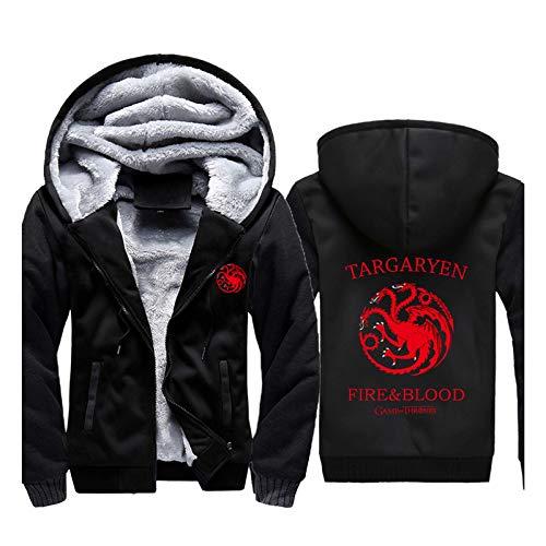 Herren Hoodie Game of Throne Sweatshirt Winter Jacke mit Durchgehendem Reißverschluss Langarm Cardigan Verdicken Fashion Sport Sweatshirt Mantel