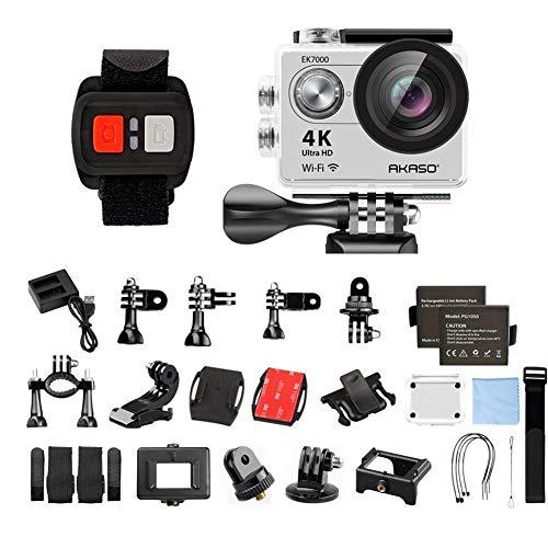 AKASO EK7000 4K WiFi Sports Action Camera Ultra HD Waterproof DV Camcorder 12MP 170 Degree Wide Angle (Silver)