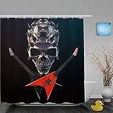 YOLIKA Duschvorhang,Heavy Metal - Demon Skull,schwarz & rot gekreuzte Gitarren,personalisierte Deko Badezimmer Vorhang,mit Haken,180 * 180