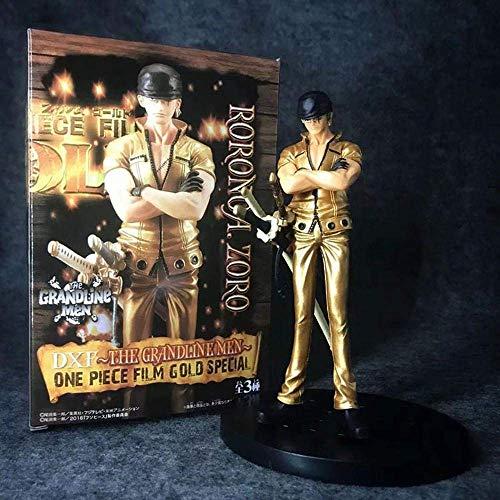 SXXYTCWL ONE Piece Film Gold Stehen Haltung Luffy Zoro Sanji Gold-16 cm animierte Figur Modell Möbel Action-Figur Statue Sammler Geschenk A jianyou (Color : B)