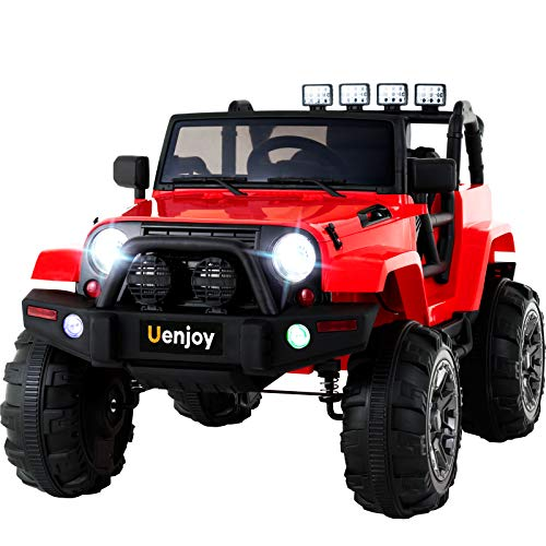 Uenjoy Ride on Car 12V Battery Power Children's Electric Cars Motorized Cars for Kids with Wheels Suspension,Remote Control, 3 Speeds, Head Lights,Music,Bluetooth Remote Controller,Red