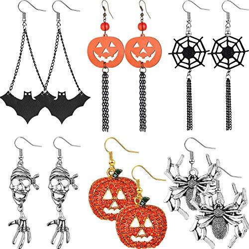 6 Paia di Orecchini di Halloween Orecchini Pendenti Orecchini Ragno Ragnatela Zucca per Rifornimenti di Ragazze e Donne