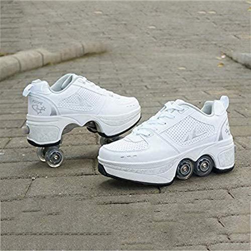 SCDXJ Patín En Línea, Zapatos Multiusos 2 En 1, Botas De Patín De Cuatro Ruedas Ajustables, Zapatos Deformación Multifuncionales Patines