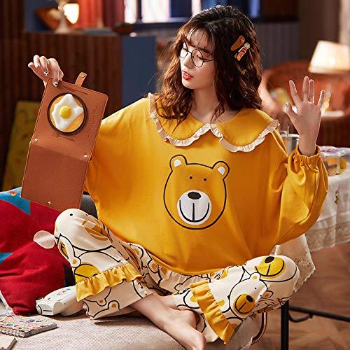 STJDM Bata de Noche,Otoño Invierno Ropa de Dormir para Mujer Ropa de casa Informal de algodón Completo para Mujer Dulce Cuello de muñeca Ropa de salón Pijamas cómicos Sueltos Suaves L Azul