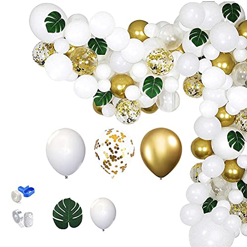 100PCS White Balloon Garland Kit Gold & Silver White Balloons Sequin Dotted Balloon with Tape Strip Suitable for Kids Boys Girls Birthday Party Hanging Decoration