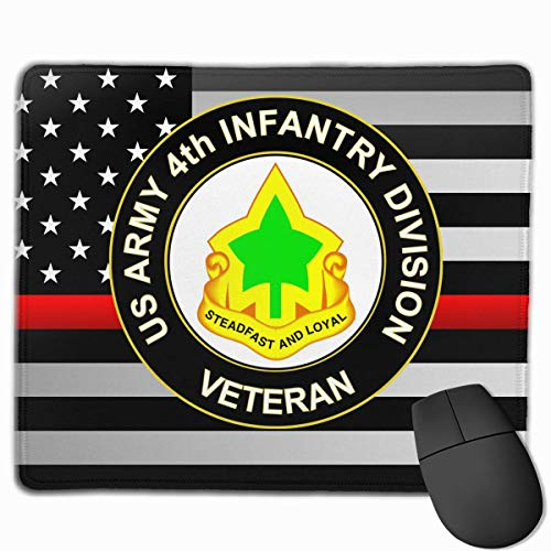 US Army 4th Infantry Division Unit Crest Veteran Thin Red Line Flag Alfombrilla para ratón Non-Slip Gaming Mouse Pad Mousepad for Working,Gaming and Other Entertainment
